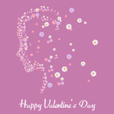 Happy Valentine's Day greeting card with flowered girl face. Vector