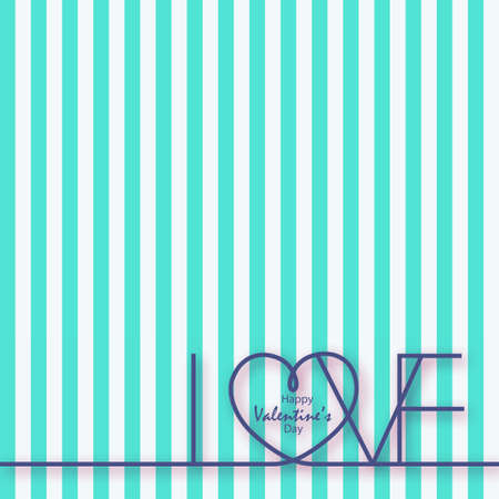 Happy Valentine's Day greeting card with lined background and handwritten text. vector. Illustration