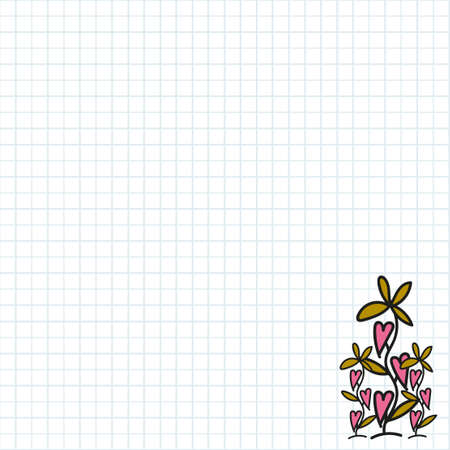 Valentine's day background with elements on school notebook.Vector.