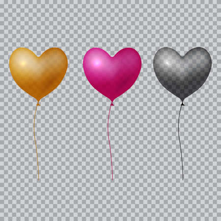 Realistic heart balloon on transparent background. Vector.