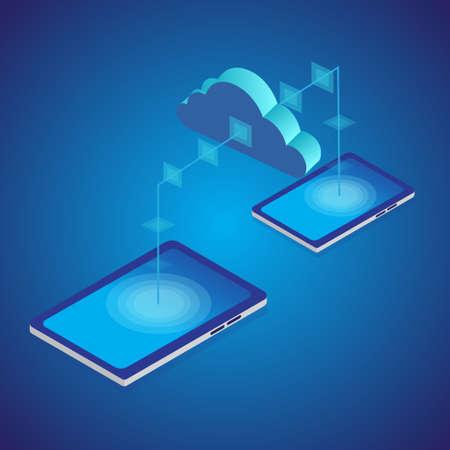 Cloud transferring between smart phones. Isometric style. Vector Illusztráció