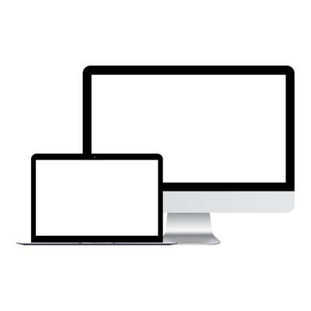 Monitor del computer e tablet mock up. Vettore. Vettoriali
