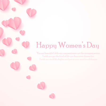Happy Women s Day greeting card with cut out paper hearts. Vector