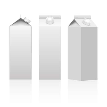 Caja de paquete de embalaje de cartón de leche o jugo blanco aislado Vector.
