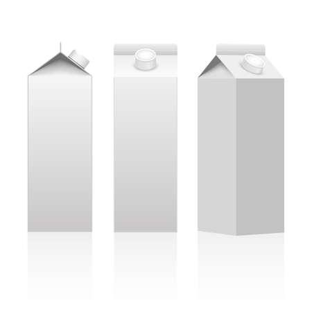 Milch- oder Saftkarton-Verpackungsverpackungsbox weiß leer isoliert. Vektor.