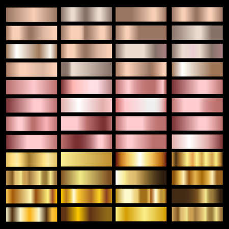 Set of gold rose, bronze, silver and gold foil textures. Vector