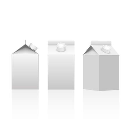 Milk or juice carton packaging package box white blank isolated. Vector.