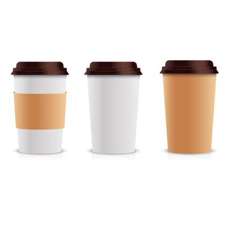 Realistic set of paper Coffee Cups. Collection 3d Coffee Cup Mock up. Vector Template.