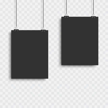 Realistic black vector blank frame hanging . Vector 向量圖像