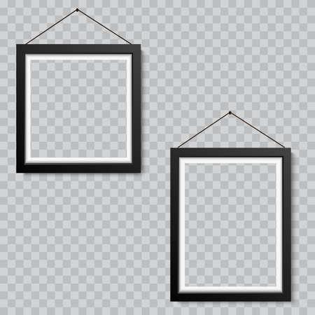 Cuadro en blanco realista o marco de fotografía colgante. Vector Ilustración de vector