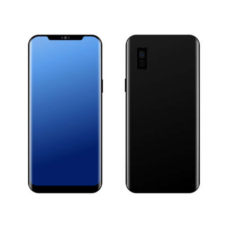 Realistic modern smart phone Front and Back view. Vector