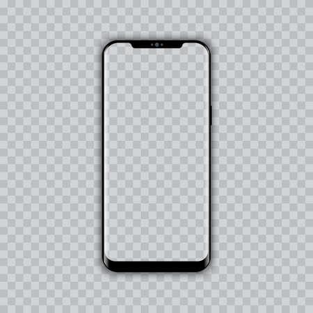 Realistic modern smart phone with. Transparent screen. Vector. Ilustração Vetorial