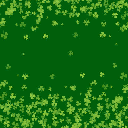 Saint Patrick s Day frame with green tree leaf clovers on white background. Vector.