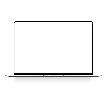Laptop with white screen mock up. Vector.