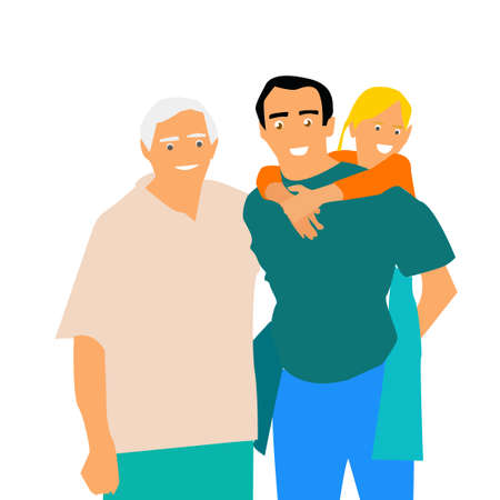 Happy Family. Grandfather, father and daughter. Vector