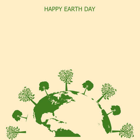 Happy Earth day card with Earth and tree. Vector.