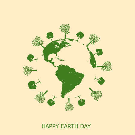 Happy Earth day card with Earth and tree. Vector Banque d'images - 121874788