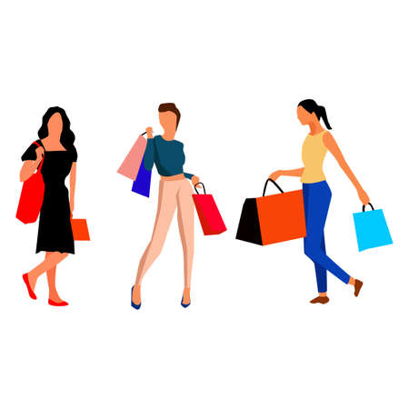 Girls coming from the shopping. Vector.