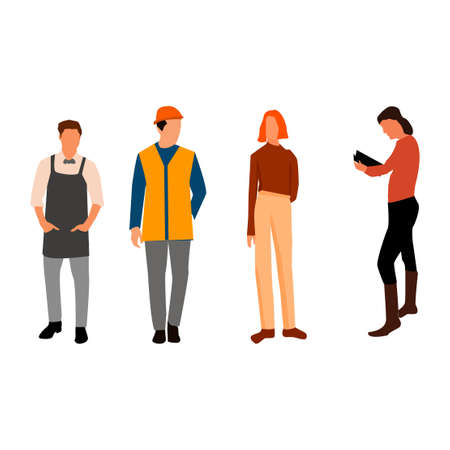 People group with different occupation set . Vector