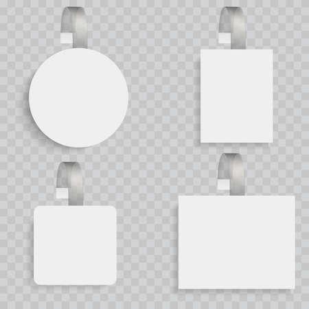 White blank wobblers. 3d sale discount plastic tags vector Illustration