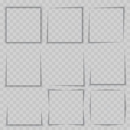 Transparent realistic square frame shadow effect set. Vector.