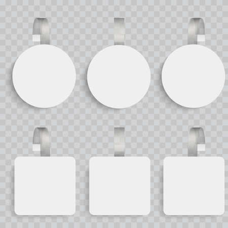 White blank wobblers. 3d sale discount plastic tags vector.