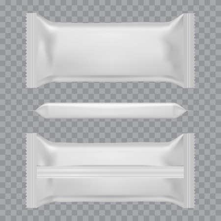 Sacchetti di cuscino per snack alimentari realistici. Vista anteriore e posteriore. Modello. Vettore Vettoriali