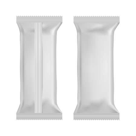 Bolsas de almohada de bocadillos de comida realista. Vista frontal y posterior. Bosquejo. Vector