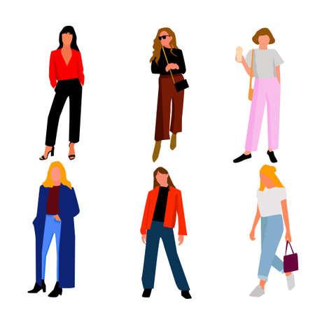 Grupo de diseños de mujeres. Vector. Ilustración de vector