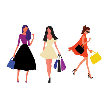 Beautiful young women in fashion clothes. Vector