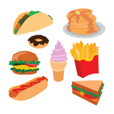 Set of fast food isolated on white. Vector.