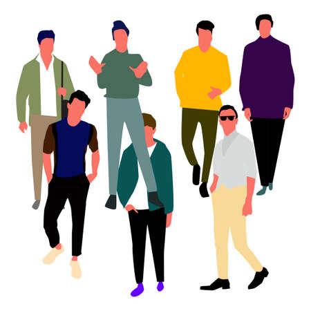 Set di uomini in abiti di moda. Vettore.