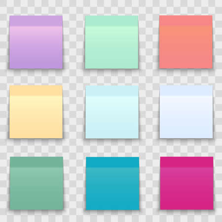 Set of office paper sheets or sticky stickers with shadow isolated on a transparent background.Vector Standard-Bild - 121782531