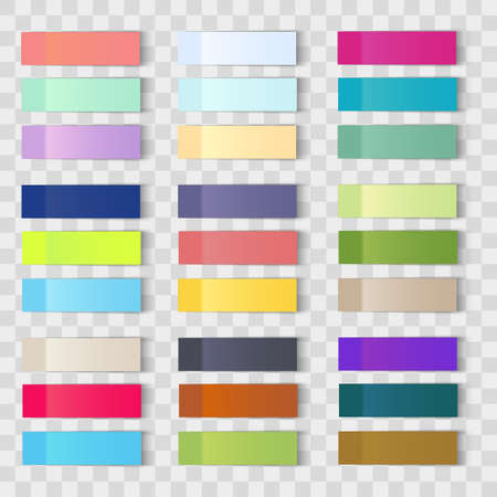 Set of office paper sheets or sticky stickers with shadow isolated on a transparent background.Vector Standard-Bild - 121875034