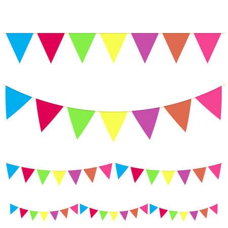 Bandierine realistiche appese a ghirlande colorate con ghirlande di diverso tipo per celebrare le vacanze. Vettore