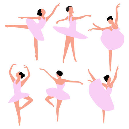 Set of ballet dancers isolated on white. Vector