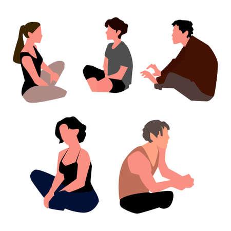 Set of people kneeling. Vector
