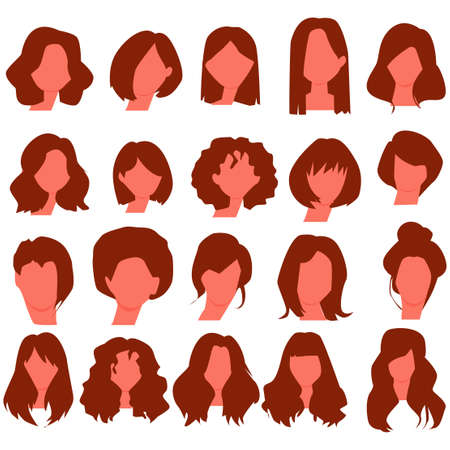 Beautiful women hair style collections. Vector Illustration