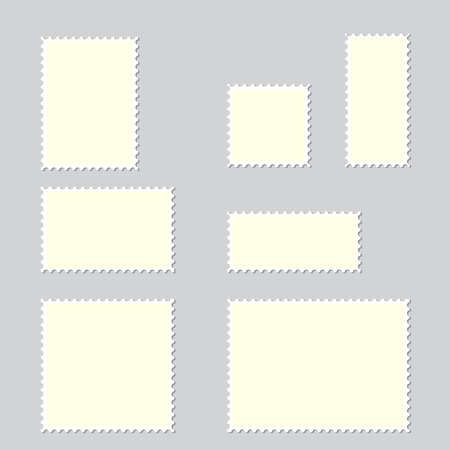 White postage stamps on grey background. Vector