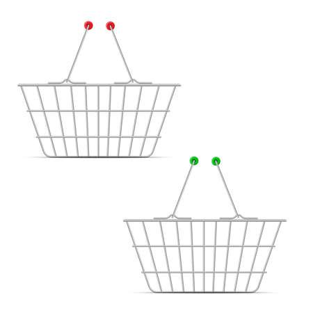 Realistic shopping market basket. Vector