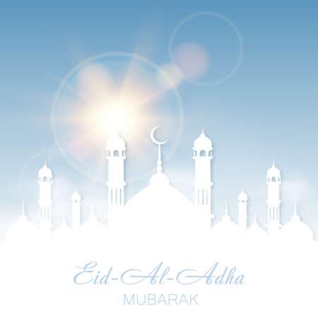 Eid Al Adha Mubarak greeting card with Mosque and sky. Vector