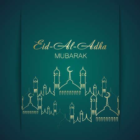 Eid Al Adha Mubarak greeting card with Mosque and Islamic ornaments. Vector Illustration