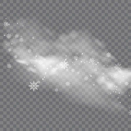 Snowy winter and fog on transparent background. Vector Ilustração