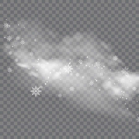 Snowy winter and fog on transparent background. Vector Illustration