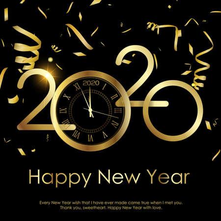 Felice anno nuovo o biglietto di auguri di Natale con orologio d'oro. 2020 vettore