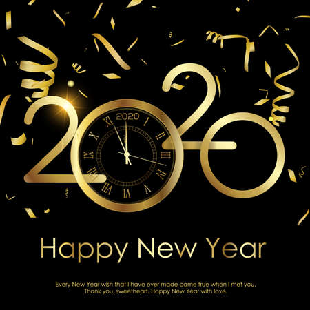 Happy New Year or Xmas greeting card with gold clock. 2020 Vector