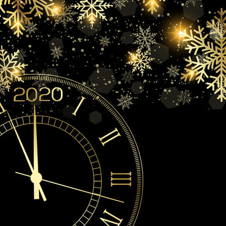 Happy New Year or Xmas greeting card with gold clock. 2020 Vector. Stock Illustratie