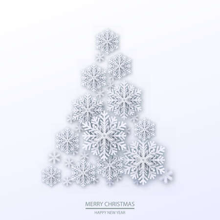 Christmas illustration with white three-dimensional tree. Vector. Illustration