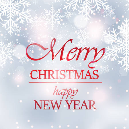 Happy New Year or Merry Christmas card with snow. Vector