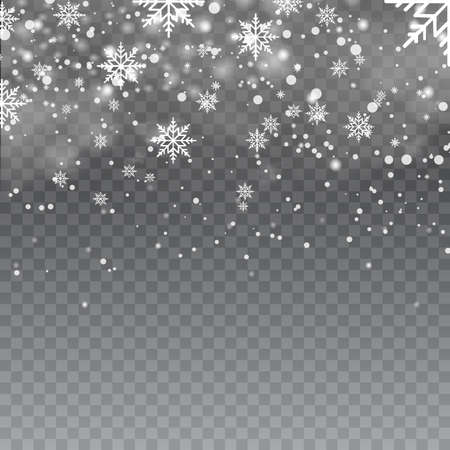 Falling snowflakes in foggy weather on transparent background. Vector